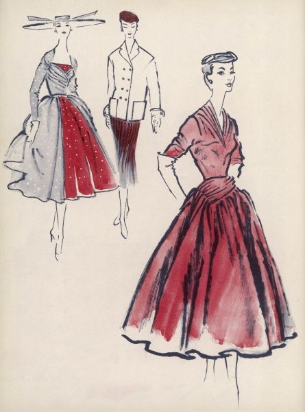 From left; Overskirts were in favour with several designers, worn apron-wise, or in a pannier effect