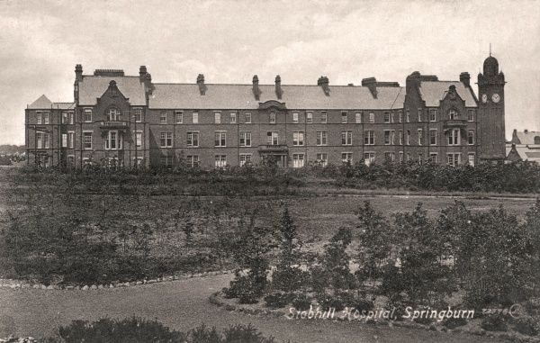 Stobhill Hospital was erected in 1903-4 at Springburn, Glasgow, by the city's poor law authority. It provided around 2000 beds for the infirm and chronically sick poor, and for children. During the First World War, it was used as a military hospital