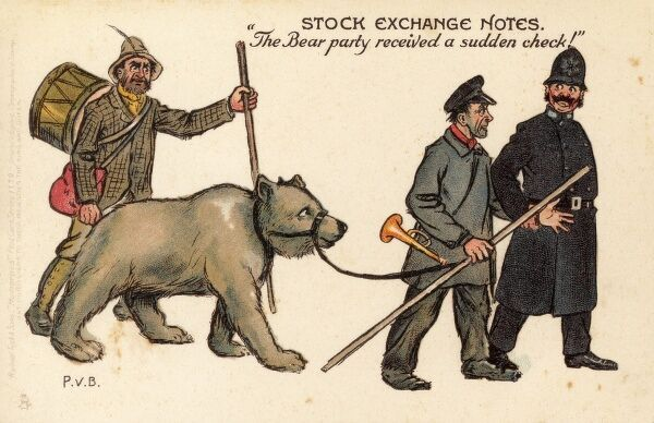 "Stock Exchange Notes - ""The Bear Party received a sudden check!"" A Bear market is a period of the stock market when prices are falling"