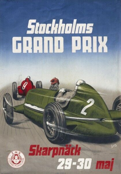 A poster for the Stockholm Grand Prix, 29th-30th May 1948