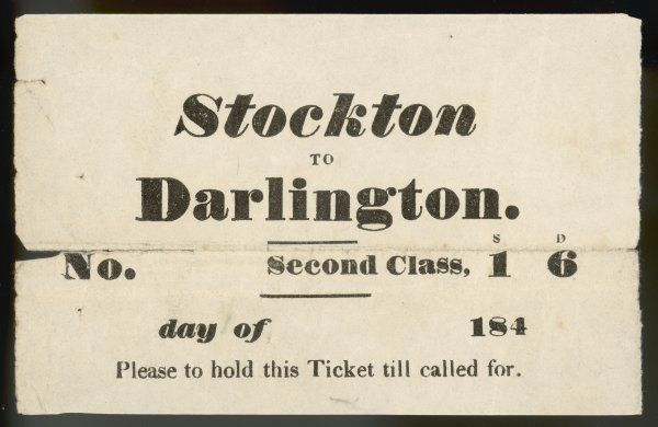 This unpretentious item is an original ticket entitling you to travel (second class) from Stockton to Darlington for the modest sum of one shilling and sixpence