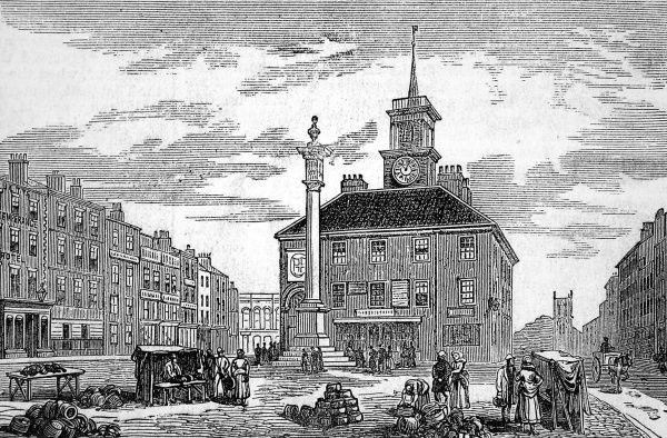 Scene on Stockton market place where celebrations took place to commemorate the jubilee of the opening of Stockton and Darlington railway