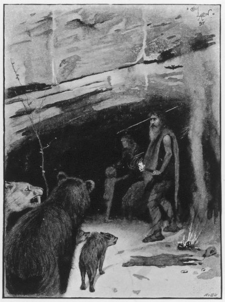 An eviction scene at Wookey Hole, near Wells, England. A stone age man yields a spear to clear a family of wild animals from a cave in order for his own family to move in