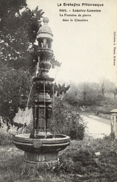 Stone Fountain in the cemetery at Loguivy-Lannion, Brittany, France Date: circa 1910s