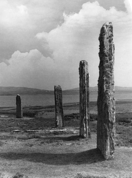Orkneys, Scotland - The Standing Stones of Stenness on the Mainland, some prehistoric monoliths, probably the temple of a long vanished race. Date