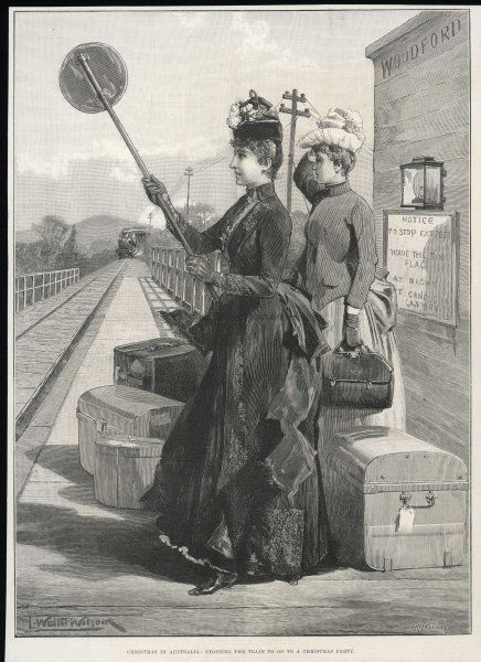A female passenger raises a signal to stop the train at Woodford, Australia
