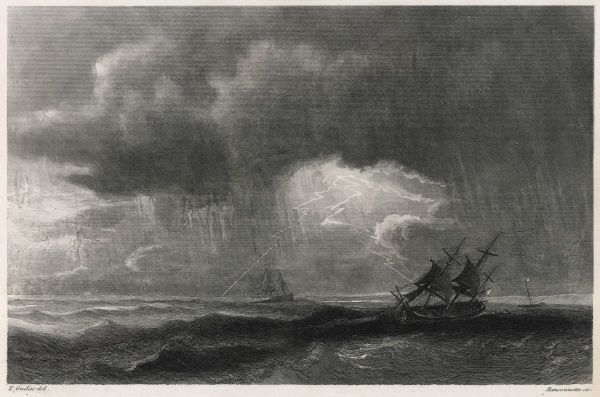 A storm at sea : sailing ships fight the heavy seas while lightning flashes and the rain falls in torrents