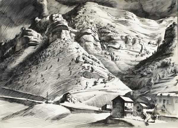 Mountain scene with a dark and stormy sky above. Pen & ink (with wash) drawing by Raymond Sheppard