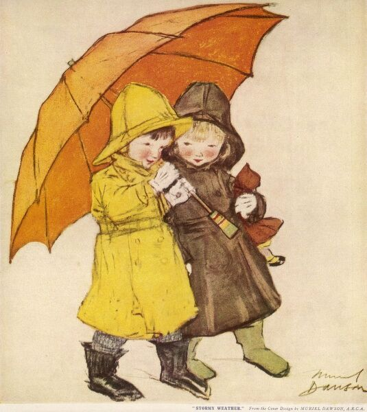 Two children dressed for rainy weather in raincoats, wellies and sou'westers shelter together under a huge orange umbrella