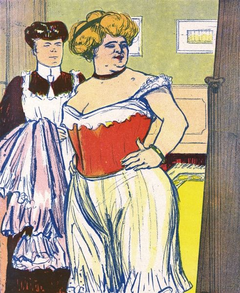 A stout matron admires her ample figure once it has been shoe-horned into a corset. Her maid, holding a petticoat, looks on. Date: 1910