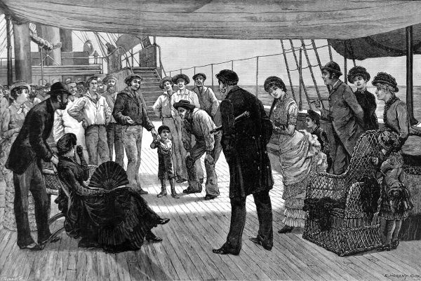 Engraving showing the scene as a freshly discovered child stowaway is taken by the crew to see the Captain of the ship. The ships' passengers are also keen to inspect the poor little child