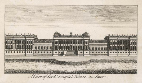 Sir Richard Temple's House at Stowe, designed by William Cleere & begun in 1676. This view dates from a later period when many 'improvements' have been made. Now Stowe School