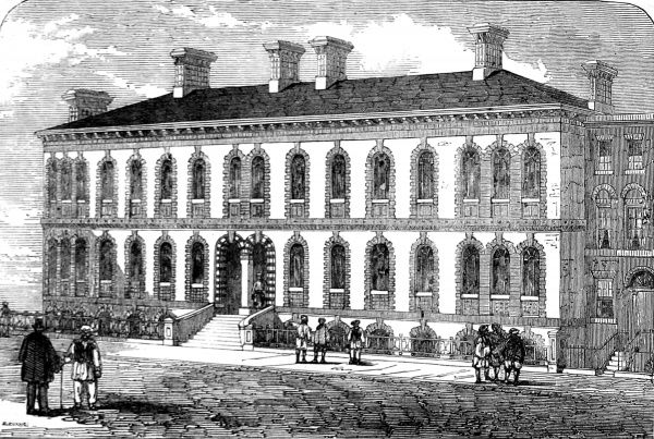 Engraving showing the exterior of the 'Stranger's Home for Asiatics, Africans and South Sea Islanders' in West India Dock Road, Limehouse, 1857