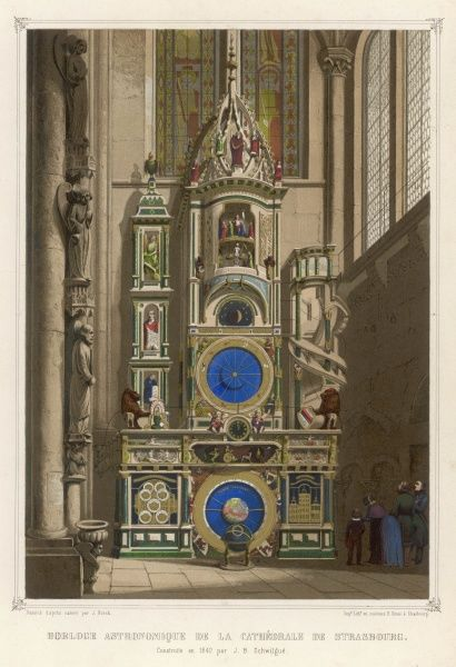 The Astronomical Clock in the Cathedral at Strasbourg built in 1842 by J B Schwilgue in the form of earlier medieval astronomical clocks. The phases of the moon are shown