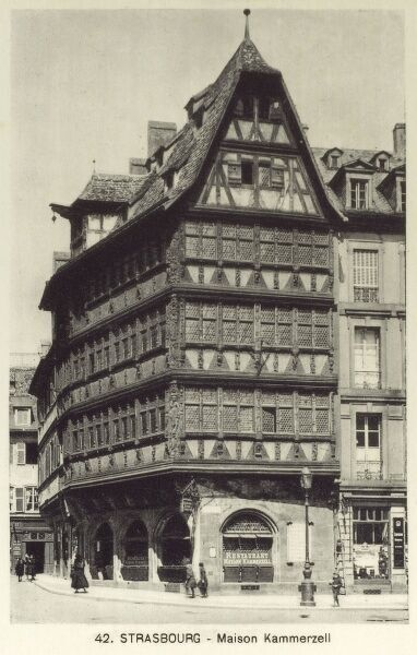 Strasbourg - Maison Kammerzell, situated on the Place de la Cathedrale - one of the most ornate and well preserved medieval civil housing buildings in late Gothic architecture to be found in Europe. Date: circa 1909