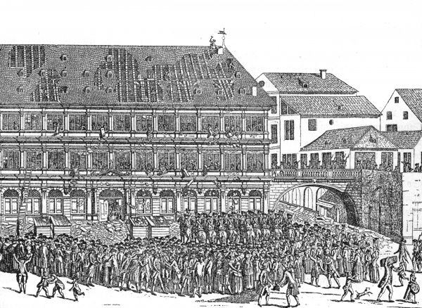 Not to be outdone by the Parisians, the citizens of Strasbourg riot against their authorities and destroy the Hotel de ville. Date: 19 July 1789