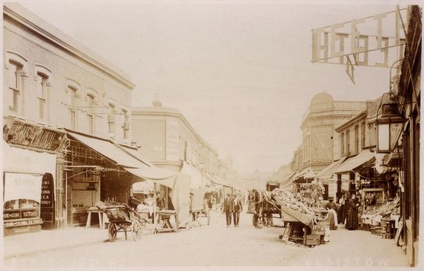 A photograph of Stratford Road, Plaistow, London showing market stalls