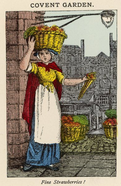 A woman in Covent Garden sells strawberries from a basket balanced on her head and distributes them in cones
