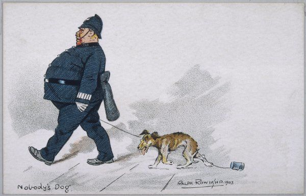 A stray mongrel is taken into custody by a policeman