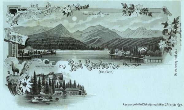 Strbske Pleso (with its large glacial mountain lake) - a favorite ski, tourist, and health resort in the High Tatras, Slovakia