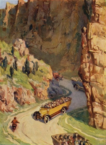 The popular pleasure of the charabanc ! - four in a row make their way through the Cheddar Gorge, Somerset - and there may be more to follow