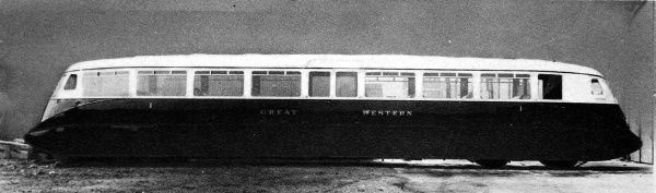 Britain's first streamlined rail car. The rail cars were introduced for services between Reading and Slough. The shape came about from extensive wind resistance experimentation