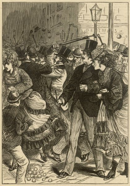 A street fight in the Haymarket, in Central London