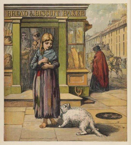 A street girl has bought some bread from a shop - a white cat shows interest... (1 of 2)