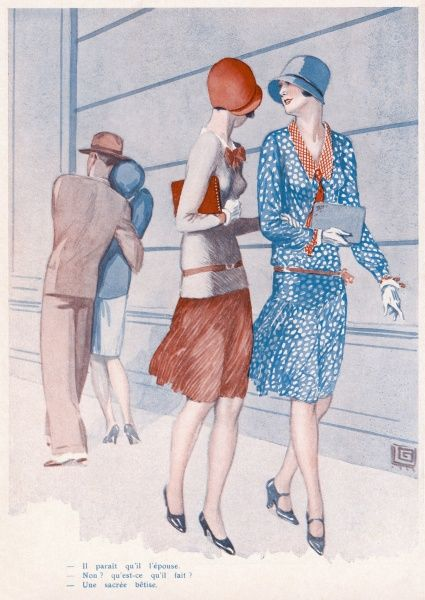 Two women engage in some gossip after passing a young couple on the street