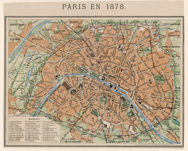An aerial map of Paris, showing the important monuments and the Seine