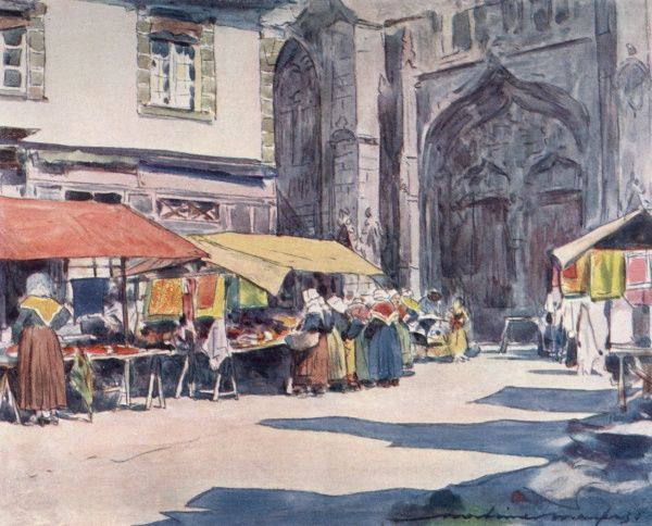 Street market at Quimperle, Brittany, in front of the cathdral. Date: 1905