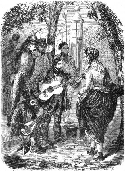 Gypsies playing guitar on the streets of Paris attract the attention of a passing shop girl and some gentlemen. Date: 1855
