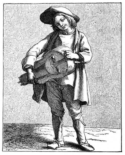 A 18th century hurdy gurdy player performing on the streets of Paris. Date: 1740