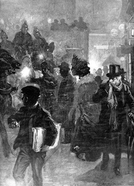 Illustration showing a street scene in London, during a particularly heavy fog, 1908. In this image a Policeman, with a torch, is trying to stop traffic to allow the Fire Brigade to pass through