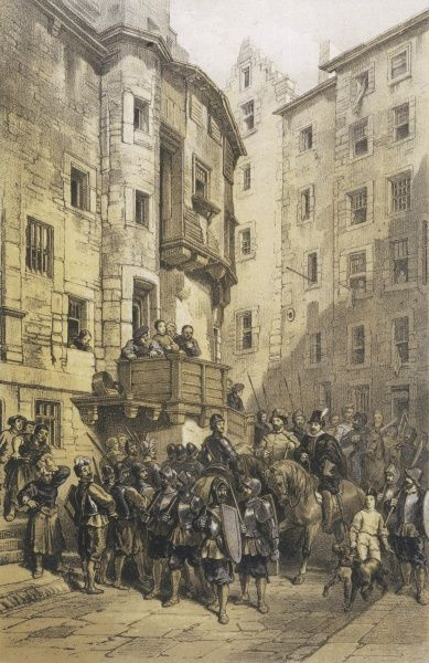 A street scene in West Bow, Edinburgh, with men on horseback and soldiers on foot