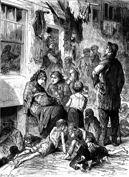 Engraving showing a street scene in Whitechapel, East London, in 1874. This image shows a large number of children and adults loitering on the pavement beside their humble dwellings