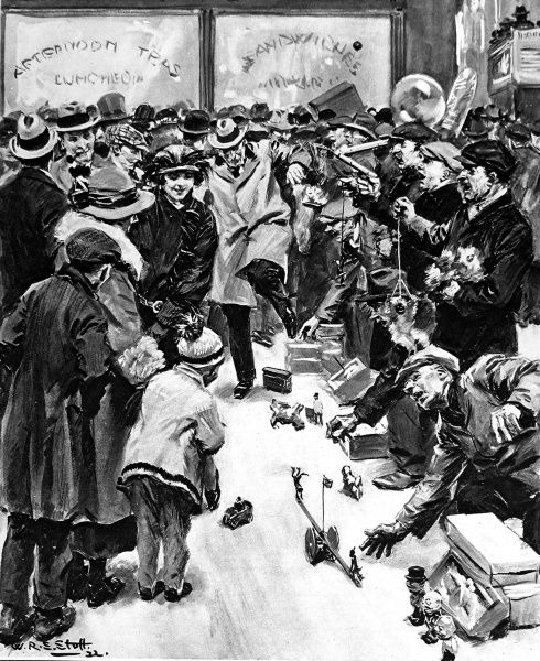Illustration showing street toy salesmen exhibiting their wares on the pavement of the Strand, London, December 1922. This image shows a least one pedestrian having to leap out of the way of a passing toy