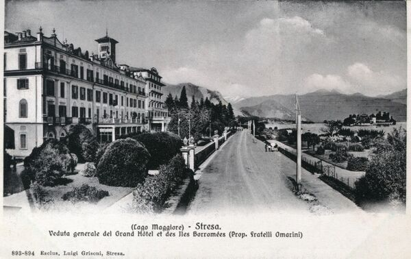 View of Stresa on Lake Maggiore, Italy with the Grand Hotel and Borromee Island Date: circa 1920s