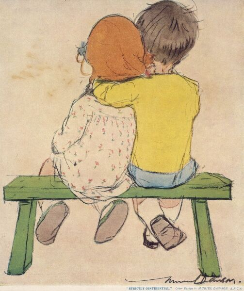 A little boy and girl sit together on a bench, the boy's arm around the girl as they discuss secrets