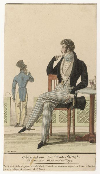 Black coat with roll collar & cut-away at the front, striped cossack trousers (pleats) strapped under the instep, quizzing glass, striped cravat, pleated shirt front