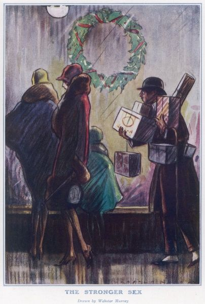 An elegant woman in fashionable fur collared coat and cloche hat enjoys some light Christmas shopping while her male companion follows behind laden with bags, boxes and gifts