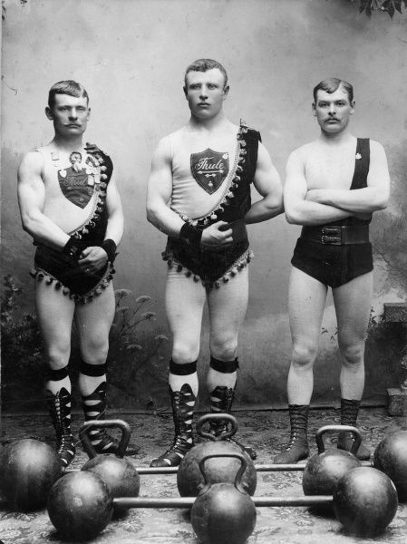 Strongmen at the athletics Club Thule, Trelleborg, Sweden 1898. Date: 1898