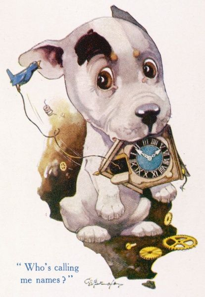 The Studdy Dog, later known as Bonzo, the canine creation of George Studdy, featured in an article on animal caricatures in The Strand magazine. In this instance, a puppy is somewhat bemused by a cuckoo clock he has managed to destroy. Credit should read