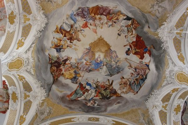 Fresco on the ceiling of the Studienkirche (Study Church or University Church), formerly the Jesuit Church of the Assumption, in Dillingen an der Donau, Bavaria, Germany. The church was consecrated in 1617