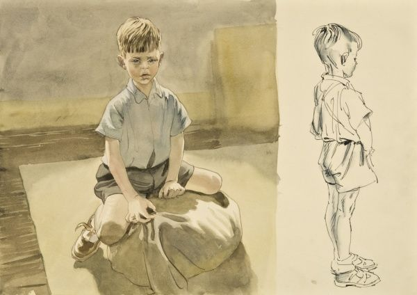 A watercolour sketch of a young boy in blue shorts sitting on a cushion. He is also depicted standing in profiie. Both studies are by Raymond Sheppard