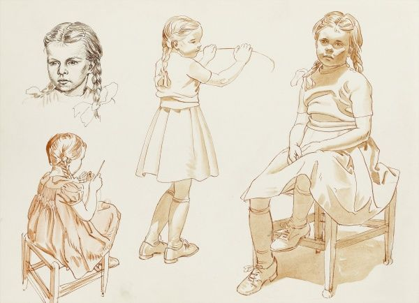 Pen and wash studies of a young girl by Raymond Sheppard