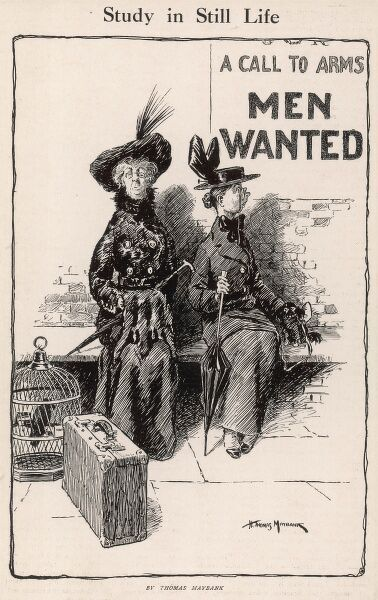 "Two spinsters sit with their luggage, unaware that a World War One recruitment poster stating ""A Call to Arms - Men Wanted"" is making them look rather foolish"