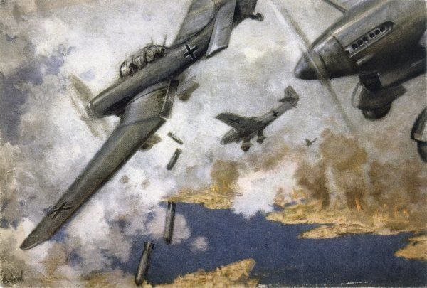 German JU-87 'Stuka' dive- bombers attack the island of Malta, a vital Allied base which the Axis powers were never able to take despite prolonged attacks