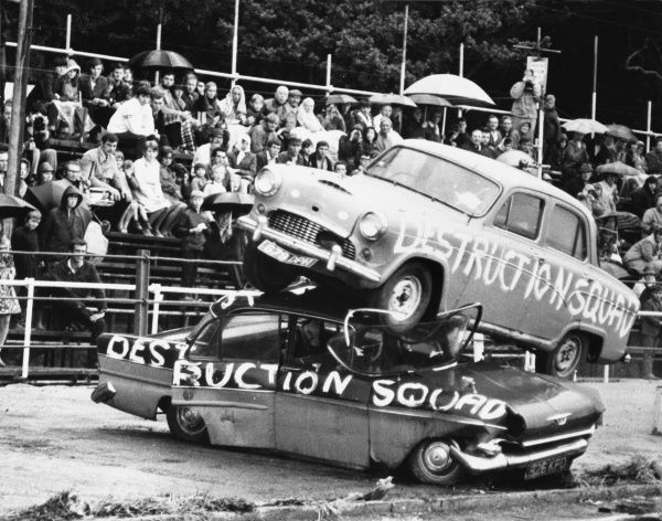 Danger men on wheels. Thrills and spills from the 'Destruction Squad', that's what the crowd, even when its raining, love to see! Date: 1960s