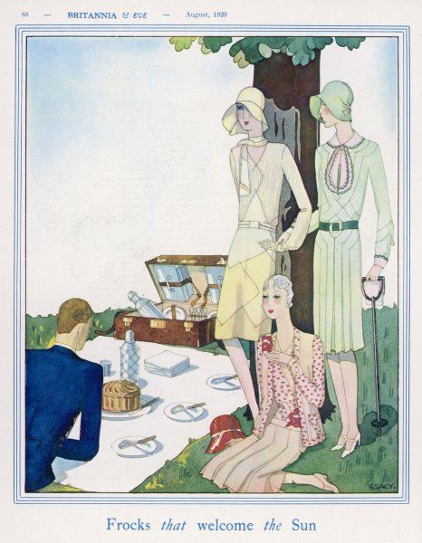 Three women and one man have stylish picnic